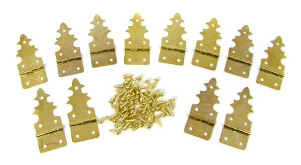 12pc. Brass-plated Gothic-Style Hinges