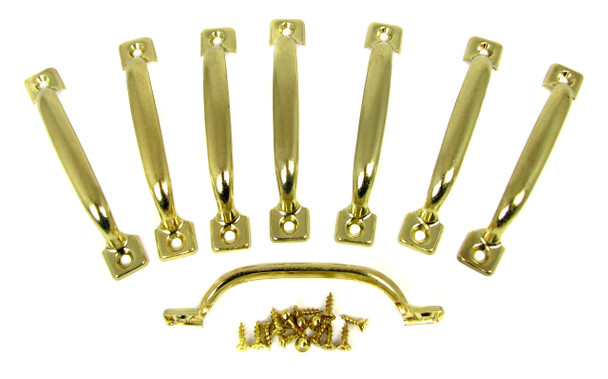 8pc. Brass-plated Box Handles with Screws