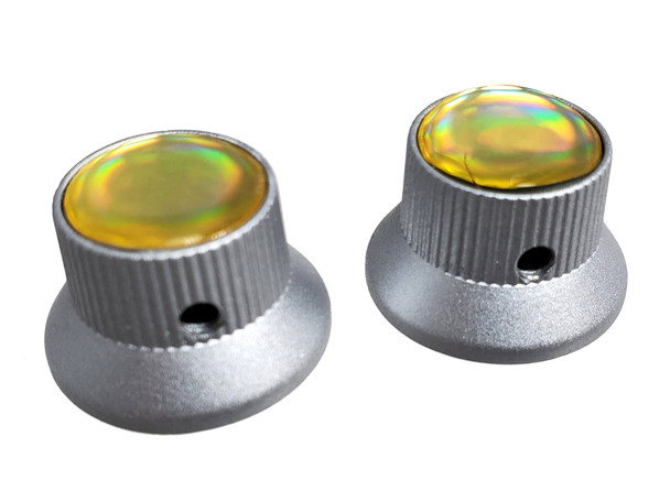2-pack Satin Chrome Top Hat Knobs with White Pearl Tops