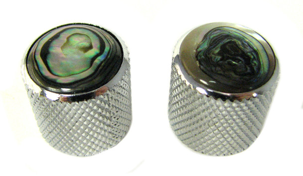 2-pack Chrome Dome Knobs with Abalone Tops