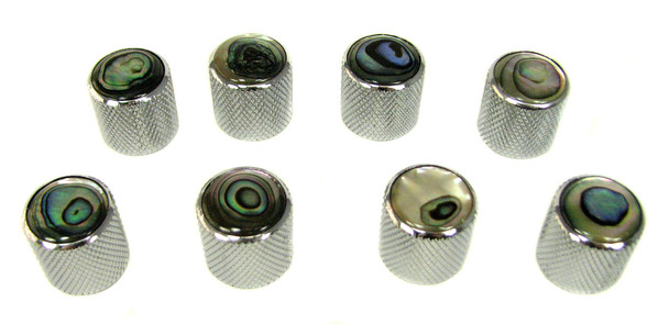 8-pack Chrome Dome Knobs with Abalone Tops