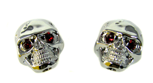 "2pc. Chrome ""Voodoo Skull"" Knobs  with red ruby eyes"