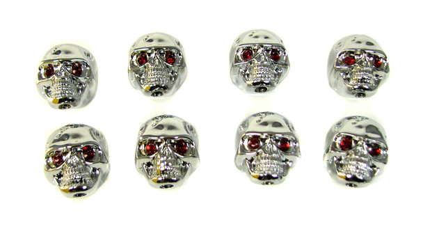 """8pc. Chrome """"Voodoo Skull"""" Knobs  with red ruby eyes"""