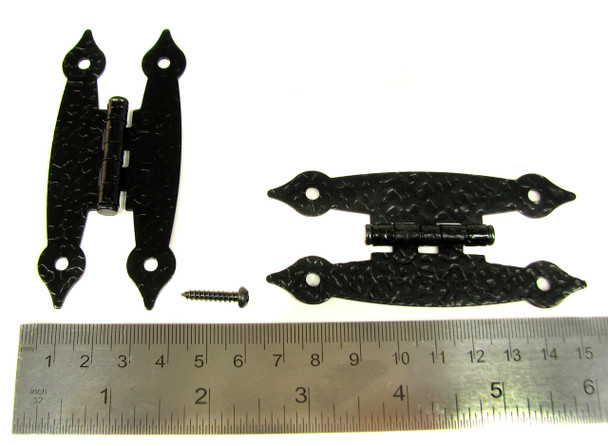 """8pc. Black Colonial-Style """"H"""" Hinges with Screws - 3 1/2"""""""