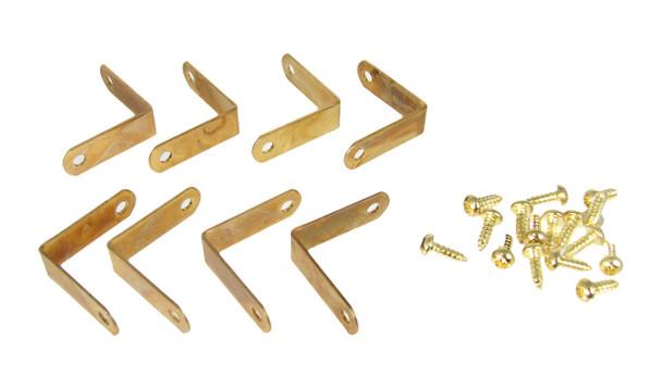 "8pc. Small Brass-plated Corner Braces with Screws (3/4"" x 1/4"")"