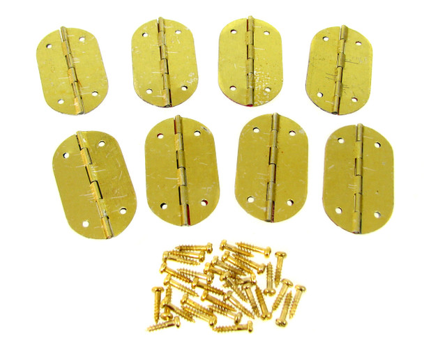 8pc. Small Oval Brass-plated Hinges with Screws