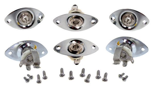 6pc. Mono Jack Pre-mounted in Chrome Jack Plate
