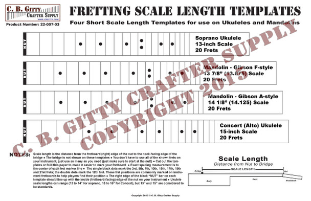 "Ukulele and Mandolin Fretting Scale Length Template - 4 Short-length Scales (13-15"")"