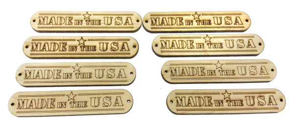"8pc. ""Made in the USA"" Hardwood Badges (Style 1) - Choose Mahogany or Maple"