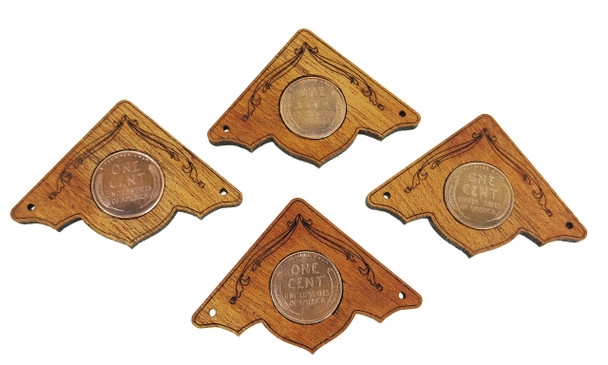 "4pc. ""Wheat Penny"" Mahogany Box Corners - featuring real U. S. Coins"