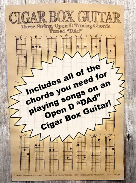 "Open D ""DAD"" Chord Poster for 3-string Cigar Box Guitars - includes blues scale diagram!"