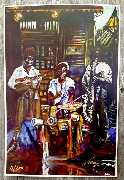 "Signed & Numbered ""Cigar Box Spasm Band"" Print by Amzie Adams"