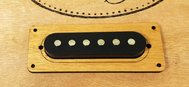 Laser-cut Enclosed Single-Coil Pickup Cover Rings 2pc Walnut