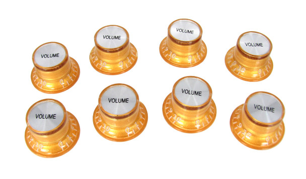 8pc. Gold Top-Hat Style Acrylic Volume Knobs