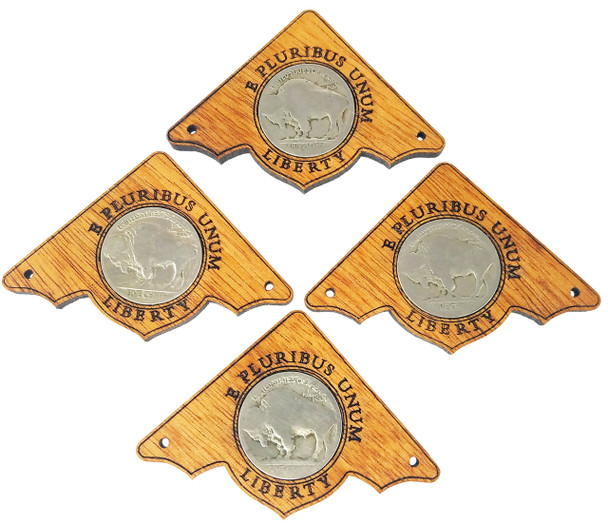 "4pc. ""Buffalo Nickel"" Mahogany Box Corners - featuring real U. S. Coins"