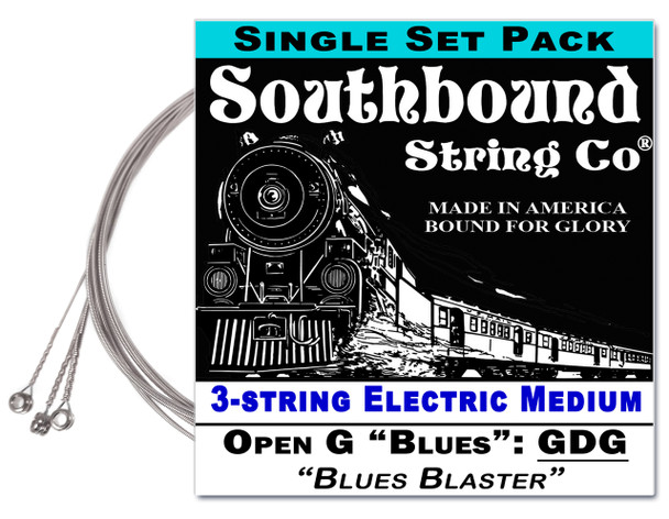 "Electric Medium ""Blues Blaster"" 3-String Cigar Box Guitar Strings - Low Open G - GDG"