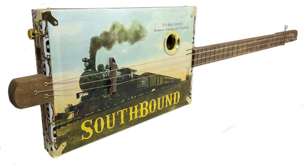 """""""Southbound Katy"""" 3-string Fretted Cigar Box Guitar with Vintage Postcard Artwork"""