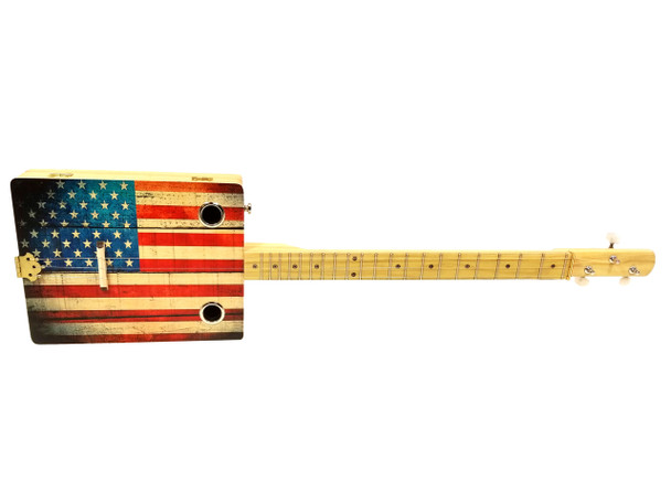"""""""Old Glory"""" Illustrated 3-string Cigar Box Guitar - Beautiful Design, Rich Tone, a Joy to Play"""