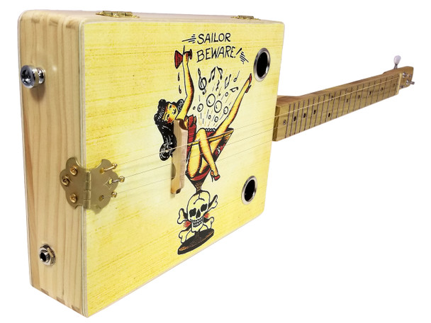 """Sailor Beware"" Vintage Tattoo Art Illustrated 3-string Cigar Box Guitar"
