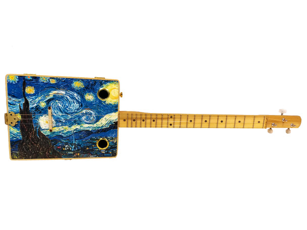 """Starry Night"" 3-string Illustrated Cigar Box Guitar"