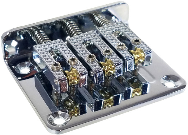 3-string Chrome Hard-tail Roller-style Bridge for Cigar Box Guitars & More - Top & Bottom Loading!