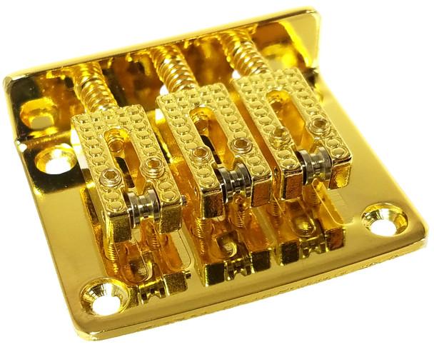 3-string Gold Hard-tail Roller-style Bridge for Cigar Box Guitars & More - Top & Bottom Loading!