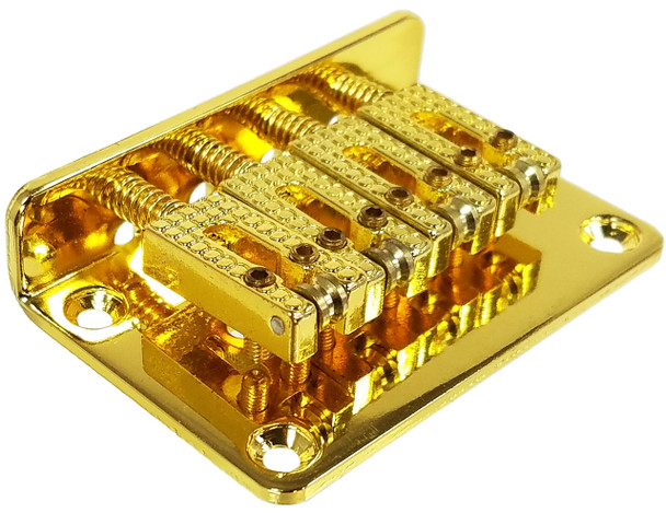 "4-string Gold Hard-tail ""Roller"" Style Bridge for Cigar Box Guitars & More - Top & Bottom Loading!"