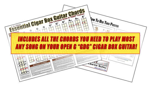"Open G ""GDG"" Essential Cigar Box Guitar Chords Poster"