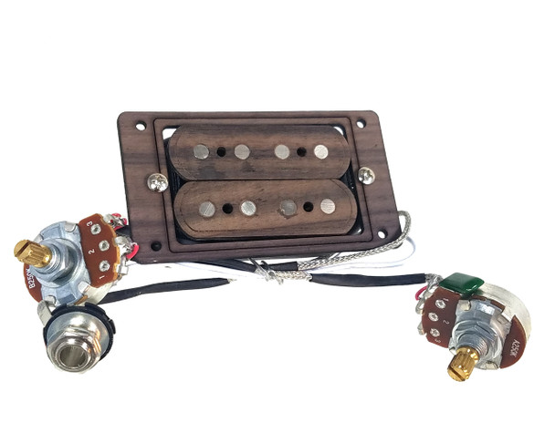 """""""DeltaBucker Deluxe"""" 4-string Rosewood Cigar Box Guitar Humbucker Pickup pre-wired with Volume and Tone - No Soldering!"""