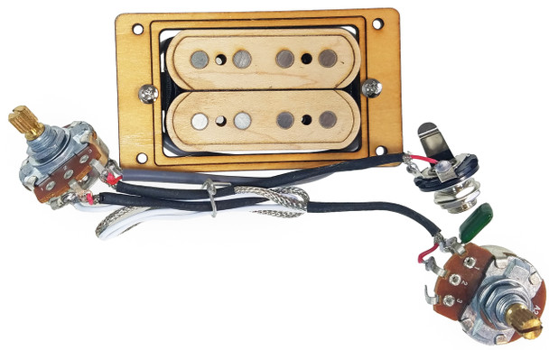 """""""DeltaBucker Deluxe"""" 4-string Maple Cigar Box Guitar Humbucker Pickup  pre-wired with Volume and Tone - No Soldering!"""