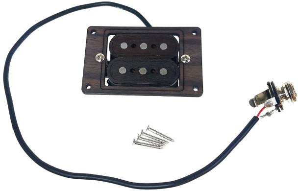 """""""DeltaBucker"""" 3-string Rosewood Cigar Box Guitar Humbucker Pickup pre-wired with Jack  - No Soldering!"""