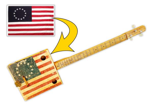 Custom Printed 3-string Cigar Box Guitar - Upload Your Own Design!
