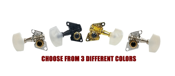 Open-Gear Economy Tuners for 4-String - 2 Right 2 Left - Choice of 3 colors