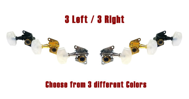 6pc. 3L/3R Open-Gear Economy Tuners - Choose your Color