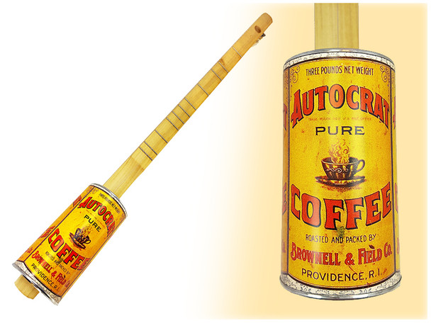 """""""Autocrat Coffee"""" One-String Acoustic Canjo - features vintage coffee can design"""