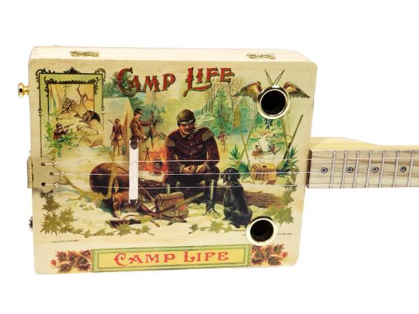 """Camp Life"" 3-string Illustrated Cigar Box Guitar - Vintage Cigar Art Series"