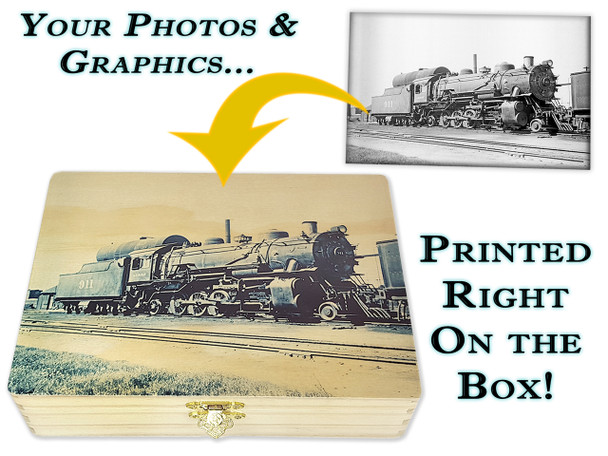 """Custom-Printed 8""""  x 10"""" Wooden Cigar Box - Vivid, photo-quality printing right on the box using YOUR images!"""