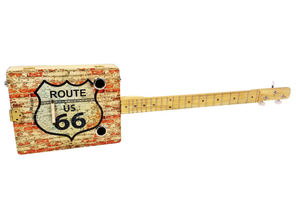 """Route 66"" 3-string Illustrated Cigar Box Guitar - features vintage cigar box artwork"