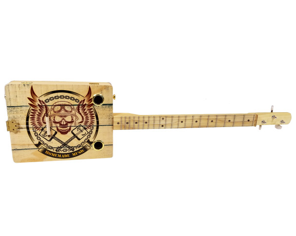 """Homemade Music"" 3-string Illustrated Cigar Box Guitar"