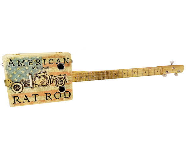 """American Rat Rod"" 3-string Illustrated Cigar Box Guitar"