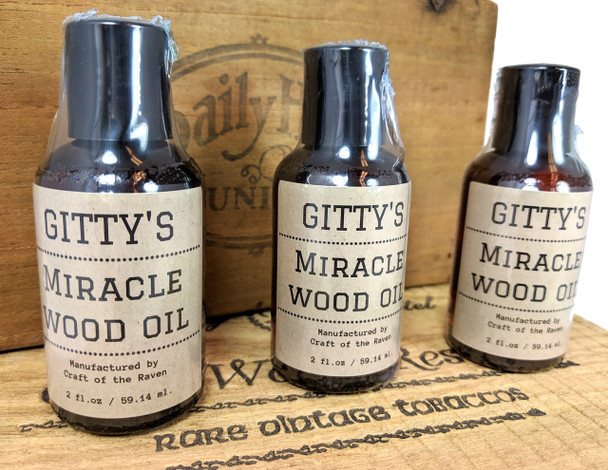 "Gitty's ""Miracle Wood Oil"" - a special blend of oils for adding a lustrous shine to fretboards, cigar boxes & more!"