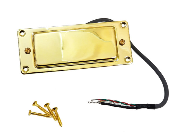 Gold Mini Humbucker Assembly with Mounting Ring - Easy to Install!