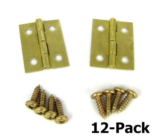 12pc. Small Square Brass Hinges