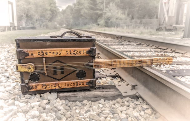 """The One-Way Ticket - a unique heirloom guitar hand-crafted by Ben """"Gitty"""" Baker"""