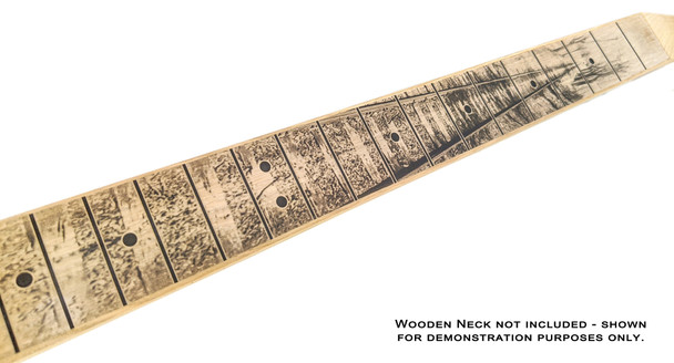 """""""Lonesome Tracks"""" Peel-and-Stick Fretboard Decal for Cigar Box Guitar - 25-inch Scale"""