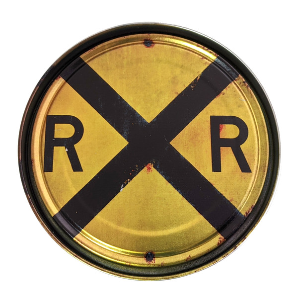 Railroad Crossing Sign Illustrated 5-inch Paint Can Lid - Cigar Box Guitar Resonator