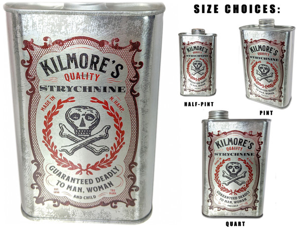 Kilmore's Strychnine Poison Can - Choose Size - Great for Canjos, Resonators & More!