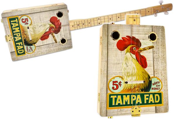 """Tampa Fad Rooster"" 3-string Illustrated Cigar Box Guitar - Vintage Cigar Art Series"