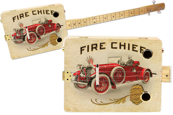 """""""The Fire Chief"""" 3-string Illustrated Cigar Box Guitar - Vintage Cigar Art Series"""