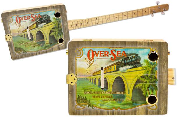 """Over-Sea"" Railroad 3-string Illustrated Cigar Box Guitar - Vintage Cigar Art Series"